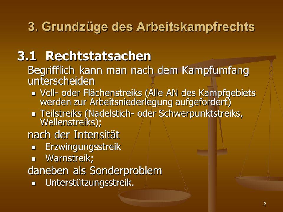 2 3. Grundzüge des Arbeitskampfrechts 3.1Rechtstatsachen Begrifflich kann man nach dem Kampfumfang unterscheiden Voll- oder Flächenstreiks (Alle AN de