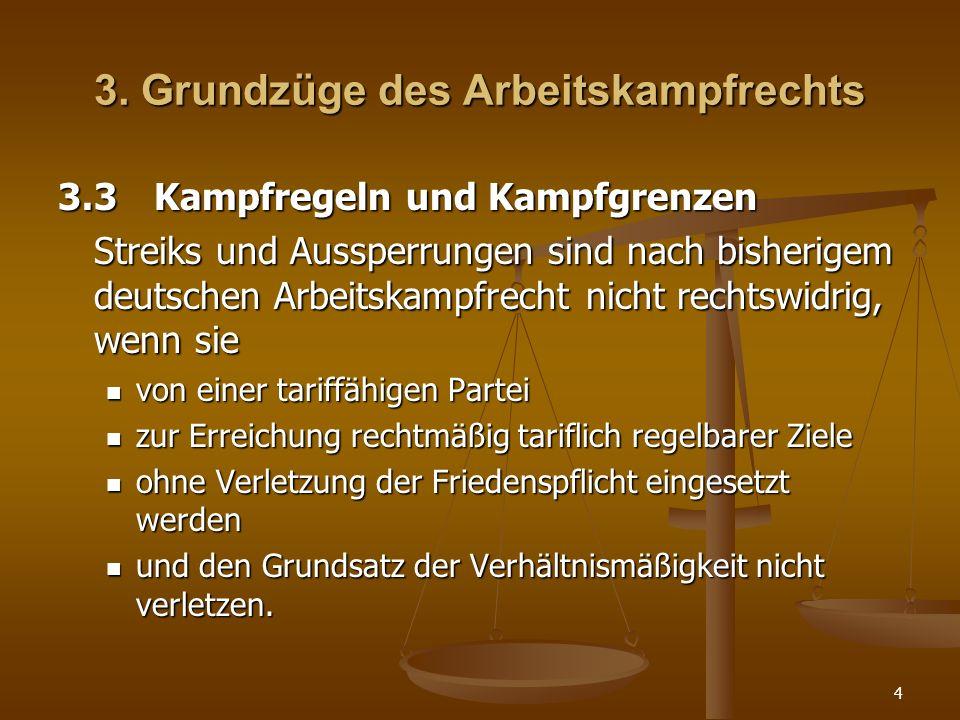 4 3. Grundzüge des Arbeitskampfrechts 3.3Kampfregeln und Kampfgrenzen Streiks und Aussperrungen sind nach bisherigem deutschen Arbeitskampfrecht nicht