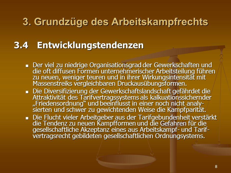 8 3. Grundzüge des Arbeitskampfrechts 3.4Entwicklungstendenzen Der viel zu niedrige Organisationsgrad der Gewerkschaften und die oft diffusen Formen u