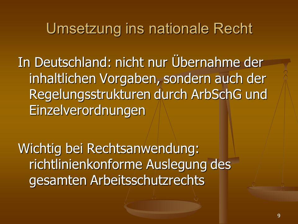 Umsetzung ins nationale Recht In Deutschland: nicht nur Übernahme der inhaltlichen Vorgaben, sondern auch der Regelungsstrukturen durch ArbSchG und Ei