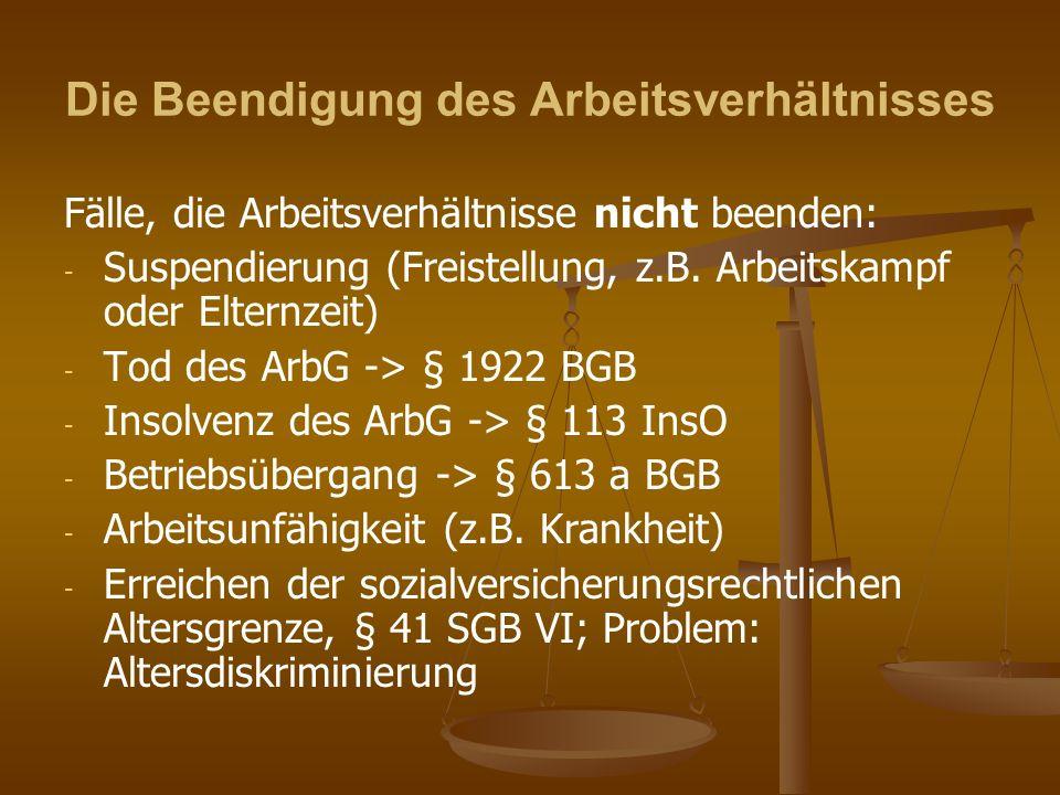 4 II.Teil: Individualarbeitsrecht Teilbereich: Die Beendigung des Arbeitsverhältnisses 1.
