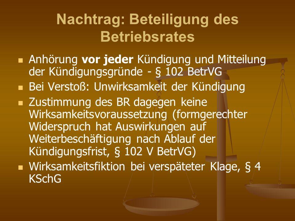Nachtrag: Beteiligung des Betriebsrates Anhörung vor jeder Kündigung und Mitteilung der Kündigungsgründe - § 102 BetrVG Bei Verstoß: Unwirksamkeit der