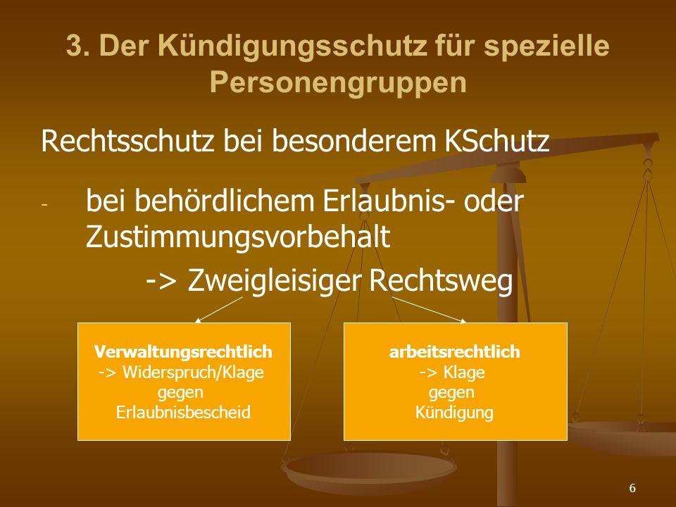 6 3. Der Kündigungsschutz für spezielle Personengruppen Rechtsschutz bei besonderem KSchutz - - bei behördlichem Erlaubnis- oder Zustimmungsvorbehalt