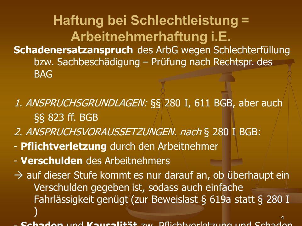 4 Haftung bei Schlechtleistung = Arbeitnehmerhaftung i.E. Schadenersatzanspruch des ArbG wegen Schlechterfüllung bzw. Sachbeschädigung – Prüfung nach