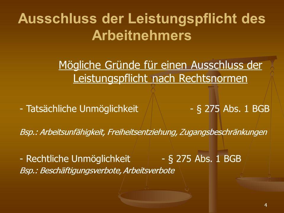 4 Ausschluss der Leistungspflicht des Arbeitnehmers Mögliche Gründe für einen Ausschluss der Leistungspflicht nach Rechtsnormen - Tatsächliche Unmöglichkeit- § 275 Abs.