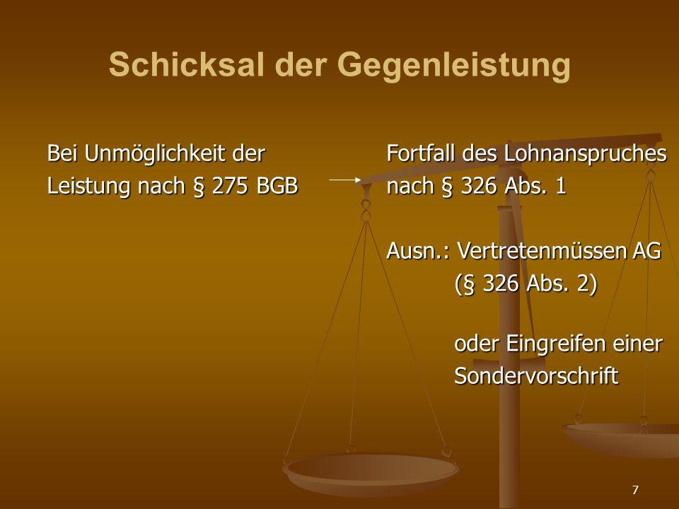 7 Schicksal der Gegenleistung Bei Unmöglichkeit der Fortfall des Lohnanspruches Leistung nach § 275 BGBnach § 326 Abs.