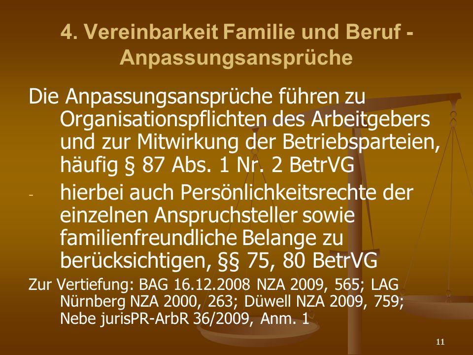 11 4. Vereinbarkeit Familie und Beruf - Anpassungsansprüche Die Anpassungsansprüche führen zu Organisationspflichten des Arbeitgebers und zur Mitwirku