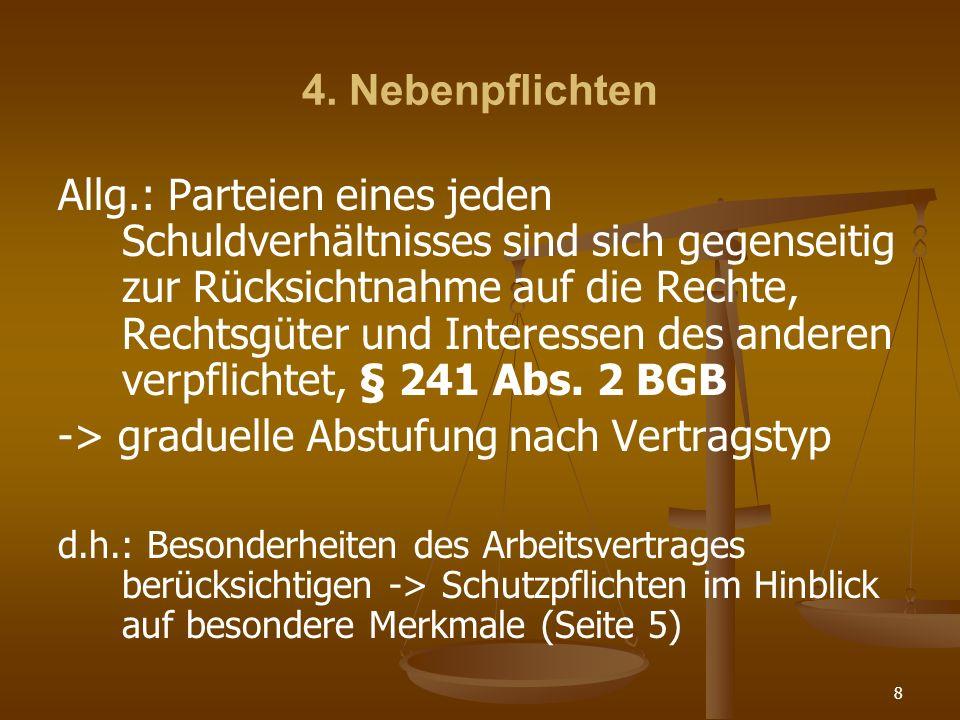 8 4. Nebenpflichten Allg.: Parteien eines jeden Schuldverhältnisses sind sich gegenseitig zur Rücksichtnahme auf die Rechte, Rechtsgüter und Interesse