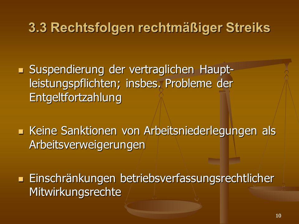10 3.3 Rechtsfolgen rechtmäßiger Streiks Suspendierung der vertraglichen Haupt- leistungspflichten; insbes. Probleme der Entgeltfortzahlung Suspendier