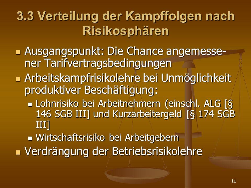 11 3.3 Verteilung der Kampffolgen nach Risikosphären Ausgangspunkt: Die Chance angemesse- ner Tarifvertragsbedingungen Ausgangspunkt: Die Chance angem
