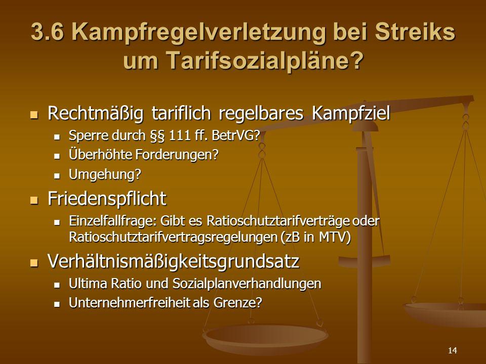 14 3.6 Kampfregelverletzung bei Streiks um Tarifsozialpläne? Rechtmäßig tariflich regelbares Kampfziel Rechtmäßig tariflich regelbares Kampfziel Sperr
