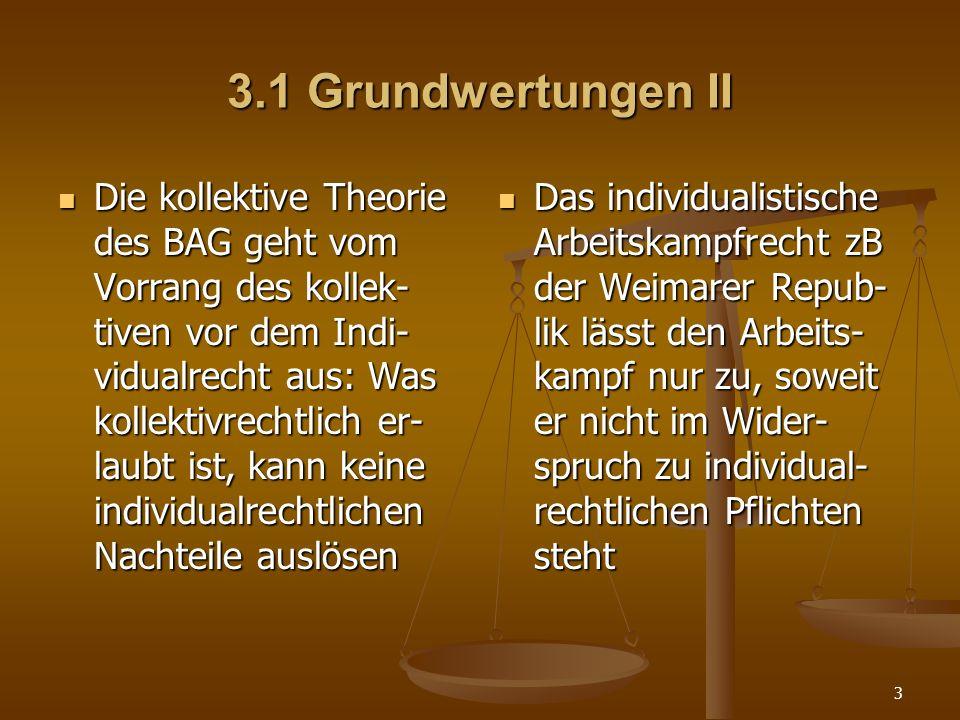 3 3.1 Grundwertungen II Die kollektive Theorie des BAG geht vom Vorrang des kollek- tiven vor dem Indi- vidualrecht aus: Was kollektivrechtlich er- la