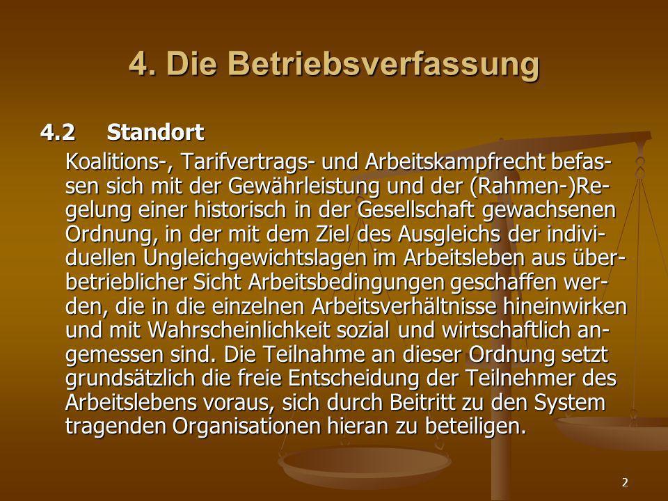 2 4. Die Betriebsverfassung 4.2Standort Koalitions-, Tarifvertrags- und Arbeitskampfrecht befas- sen sich mit der Gewährleistung und der (Rahmen-)Re-