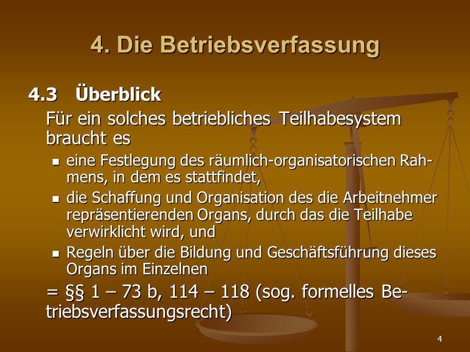 4 4. Die Betriebsverfassung 4.3Überblick Für ein solches betriebliches Teilhabesystem braucht es eine Festlegung des räumlich-organisatorischen Rah- m