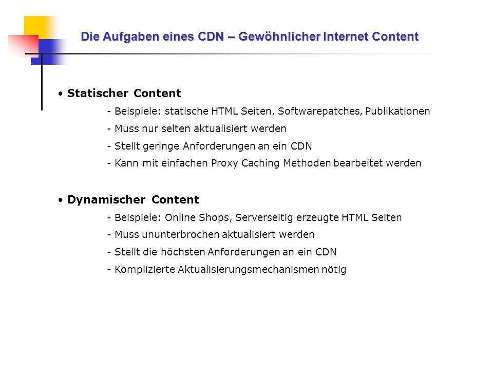 Die Aufgaben eines CDN – Gewöhnlicher Internet Content Statischer Content - Beispiele: statische HTML Seiten, Softwarepatches, Publikationen - Muss nu