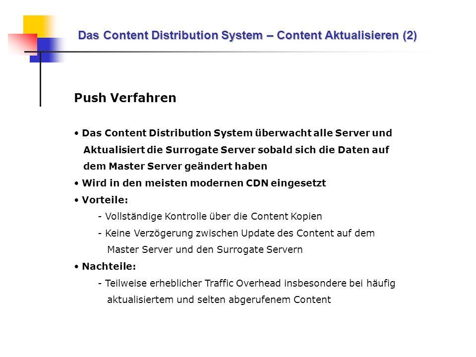 Das Content Distribution System – Content Aktualisieren (2) Push Verfahren Das Content Distribution System überwacht alle Server und Aktualisiert die