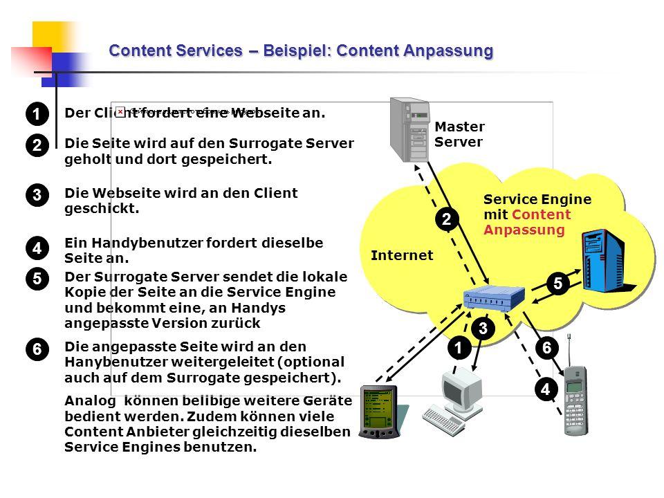 Der Client fordert eine Webseite an. Die Seite wird auf den Surrogate Server geholt und dort gespeichert. Die Webseite wird an den Client geschickt. E