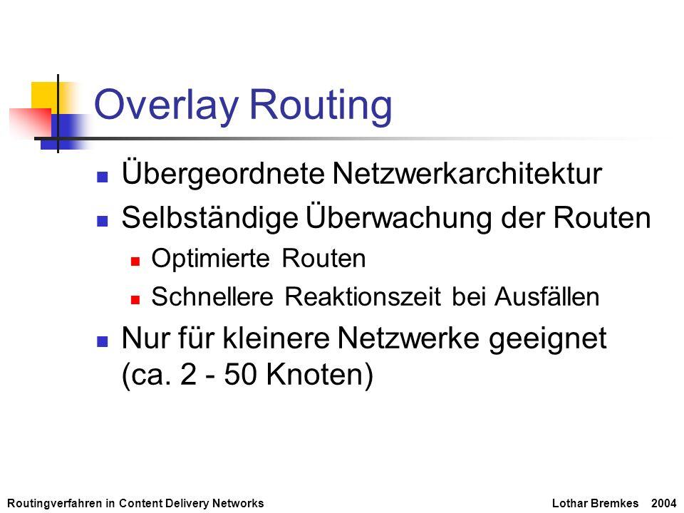 Routingverfahren in Content Delivery NetworksLothar Bremkes 2004 Overlay Routing Übergeordnete Netzwerkarchitektur Selbständige Überwachung der Routen