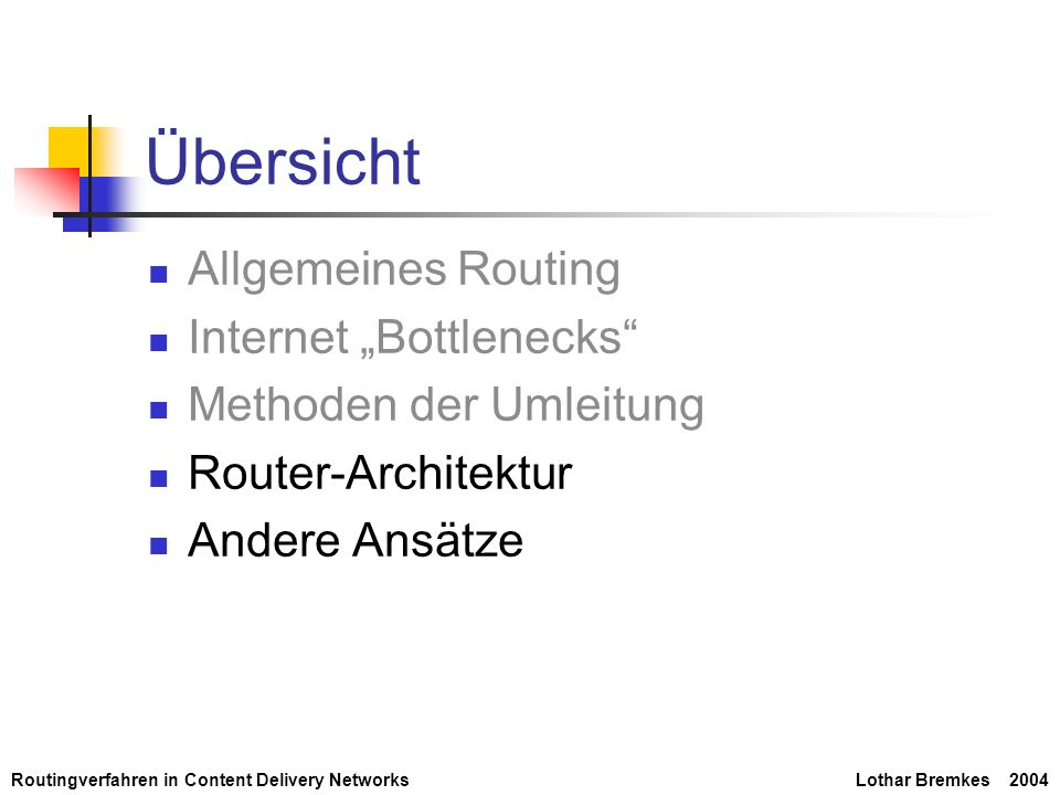 Routingverfahren in Content Delivery NetworksLothar Bremkes 2004 Übersicht Allgemeines Routing Internet Bottlenecks Methoden der Umleitung Router-Arch