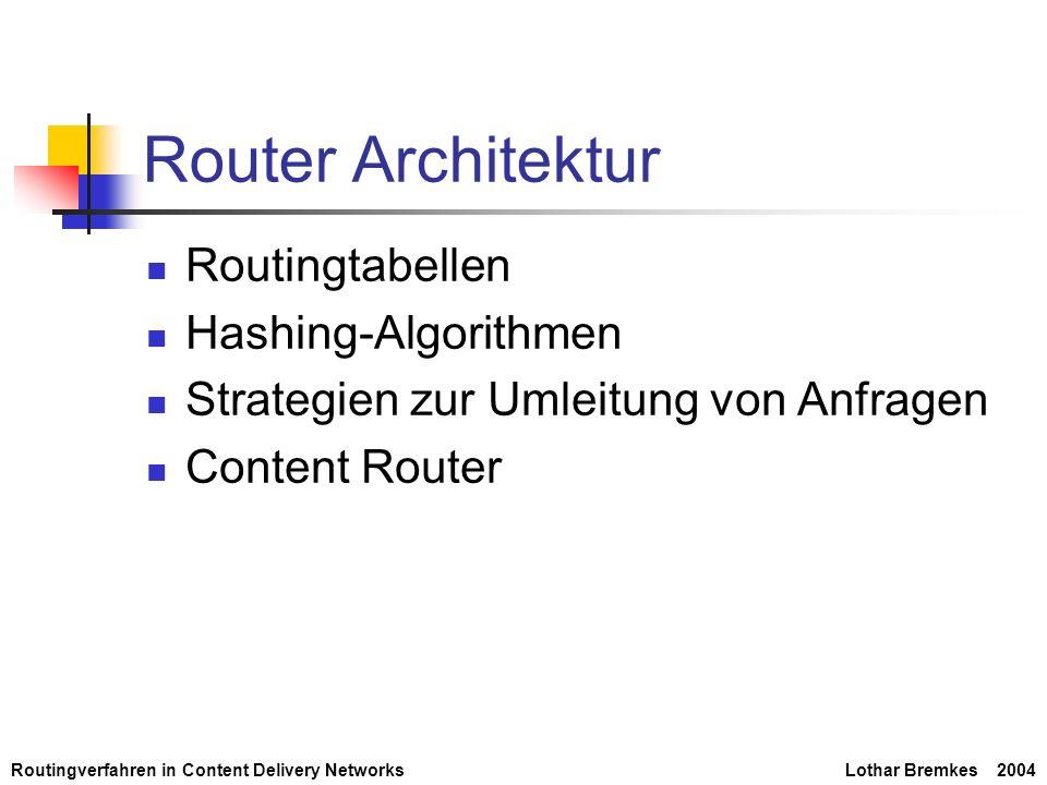 Routingverfahren in Content Delivery NetworksLothar Bremkes 2004 Router Architektur Routingtabellen Hashing-Algorithmen Strategien zur Umleitung von A