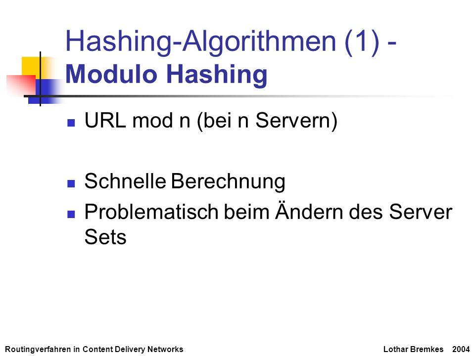 Routingverfahren in Content Delivery NetworksLothar Bremkes 2004 Hashing-Algorithmen (1) - Modulo Hashing URL mod n (bei n Servern) Schnelle Berechnun