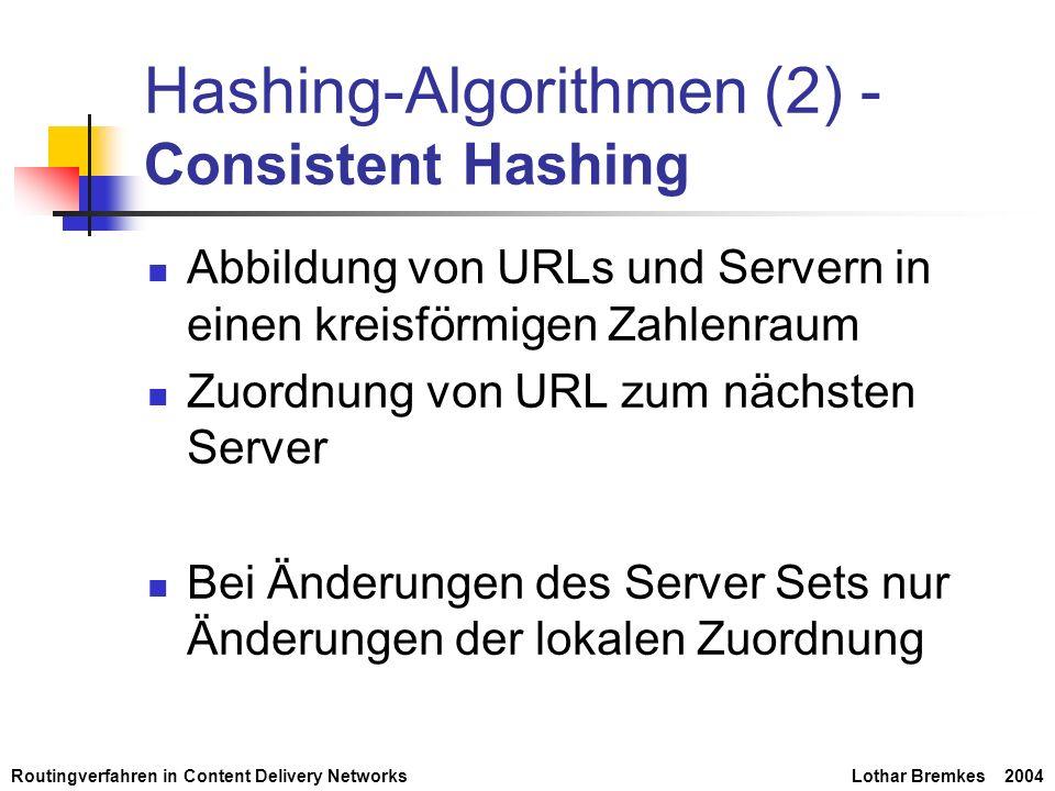 Routingverfahren in Content Delivery NetworksLothar Bremkes 2004 Hashing-Algorithmen (2) - Consistent Hashing Abbildung von URLs und Servern in einen