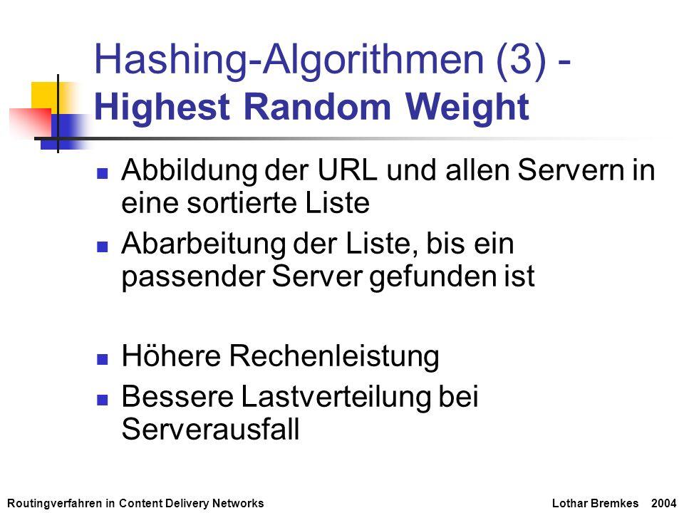 Routingverfahren in Content Delivery NetworksLothar Bremkes 2004 Hashing-Algorithmen (3) - Highest Random Weight Abbildung der URL und allen Servern i