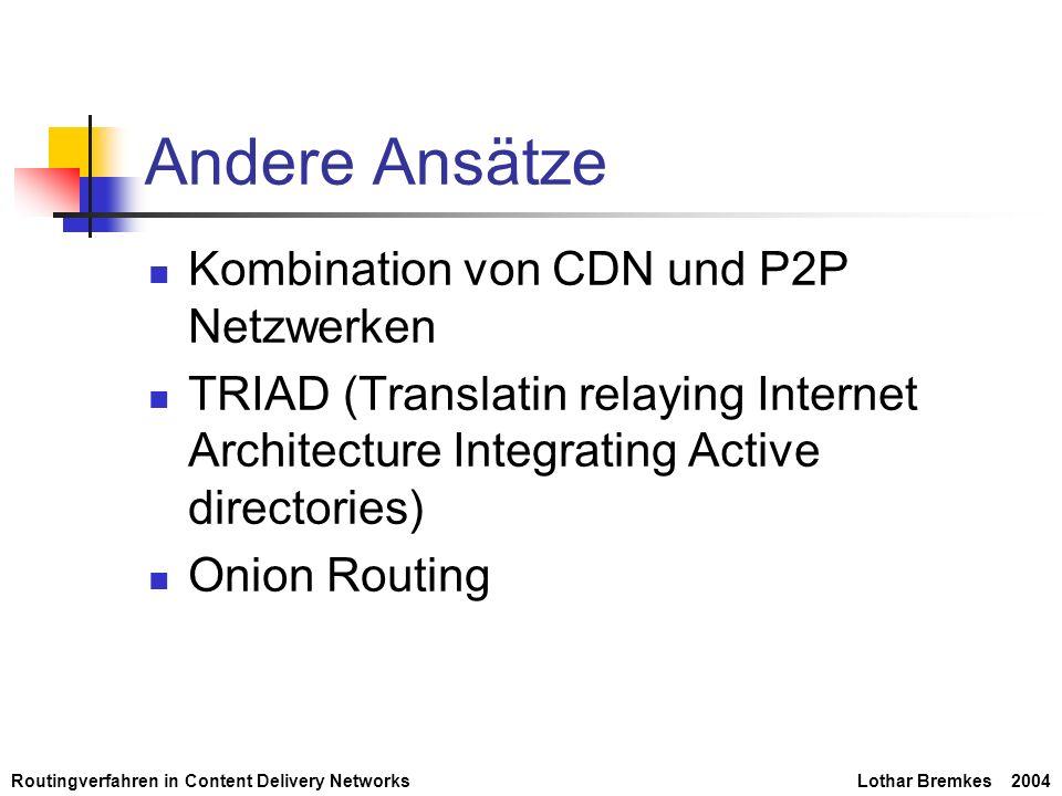 Routingverfahren in Content Delivery NetworksLothar Bremkes 2004 Andere Ansätze Kombination von CDN und P2P Netzwerken TRIAD (Translatin relaying Inte