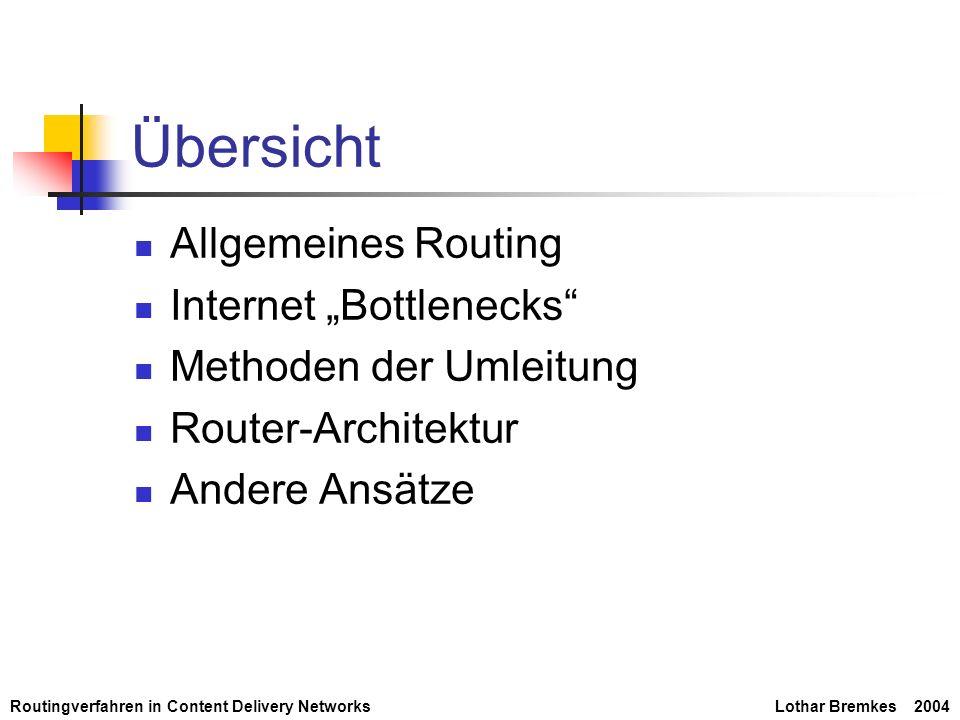 Routingverfahren in Content Delivery NetworksLothar Bremkes 2004 Routingtabellen Verweist URLs auf IP-Adressen Regelmäßige Aktualisierung Hohes Aktualisierungsaufkommen Verwaltung der URLs durch CRC-Hash Geringere Datenmenge Schnelle Umrechnung false hit