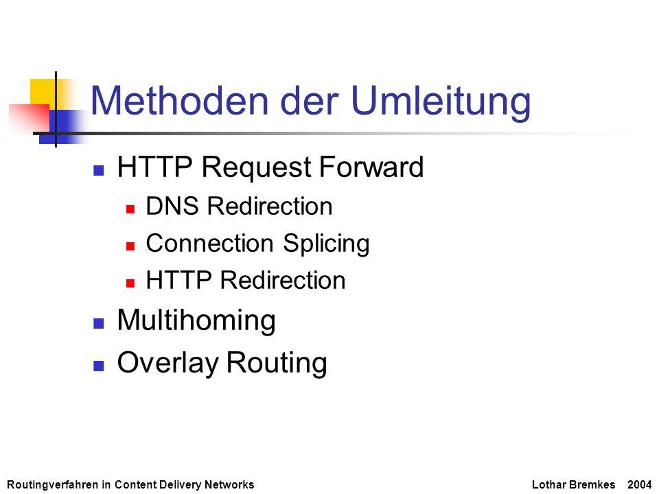 Routingverfahren in Content Delivery NetworksLothar Bremkes 2004 HTTP Request Forward (1) - DNS Redirection LBP (Load Balanced Policy) Gleichmäßige Verteilung über alle Server MIN Kleinste Round Trip Time (RTT) MIN2 Gleichverteilung auf 2 Server mit den kleinsten RTT WGT 80% auf den Server mit der kleinsten RTT, 20% gleichmäßig auf alle anderen