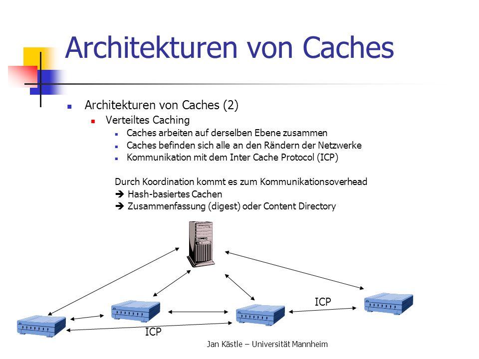 Jan Kästle – Universität Mannheim Architekturen von Caches Architekturen von Caches (2) Verteiltes Caching Caches arbeiten auf derselben Ebene zusamme