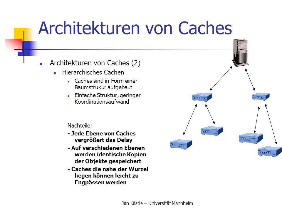 Jan Kästle – Universität Mannheim Architekturen von Caches Architekturen von Caches (2) Hierarchisches Cachen Caches sind in Form einer Baumstrukur au
