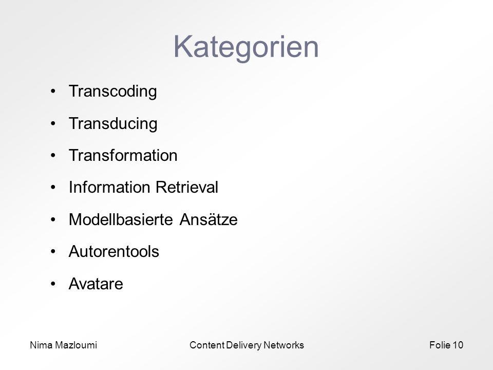 Nima MazloumiContent Delivery NetworksFolie 10 Kategorien Transcoding Transducing Transformation Information Retrieval Modellbasierte Ansätze Autorentools Avatare