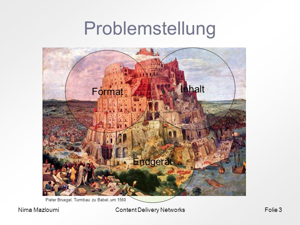 Nima MazloumiContent Delivery NetworksFolie 3 Problemstellung Format Inhalt Endgerät Pieter Bruegel, Turmbau zu Babel, um 1560