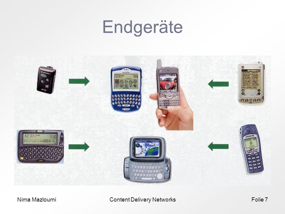 Nima MazloumiContent Delivery NetworksFolie 8 Endgeräte (2) Beispiel Smartphones *) *) Überblick: Symbian & Smartphone Markt, PDAStreet.com, 03.