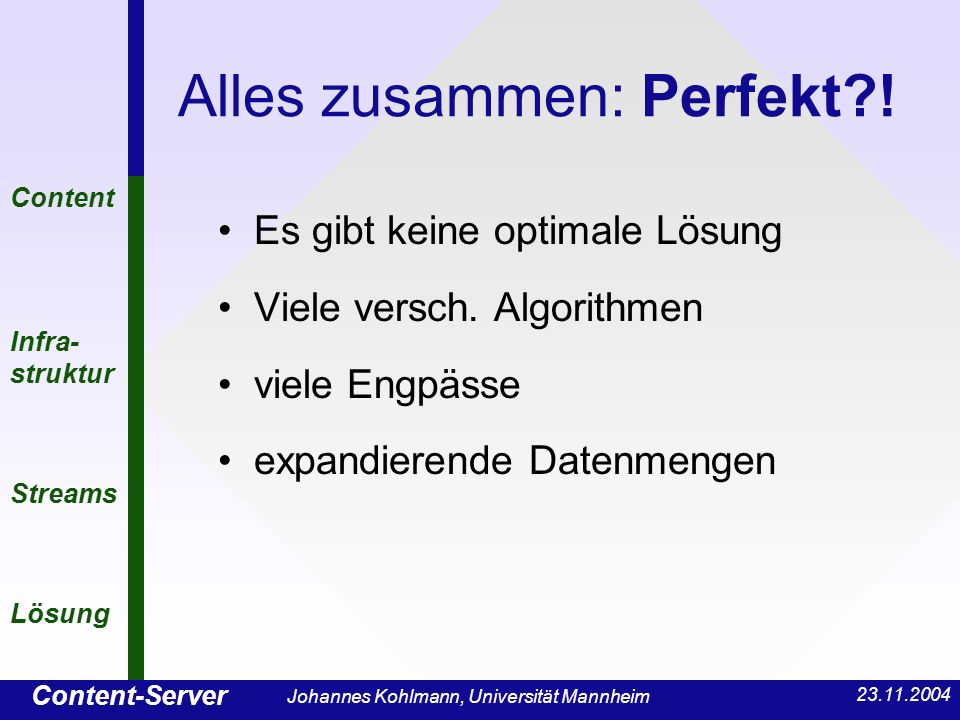 Content-Server Content Infra- struktur Streams Lösung 23.11.2004 Johannes Kohlmann, Universität Mannheim Alles zusammen: Perfekt?! Es gibt keine optim