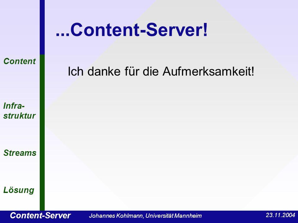 Content-Server Content Infra- struktur Streams Lösung 23.11.2004 Johannes Kohlmann, Universität Mannheim...Content-Server! Ich danke für die Aufmerksa