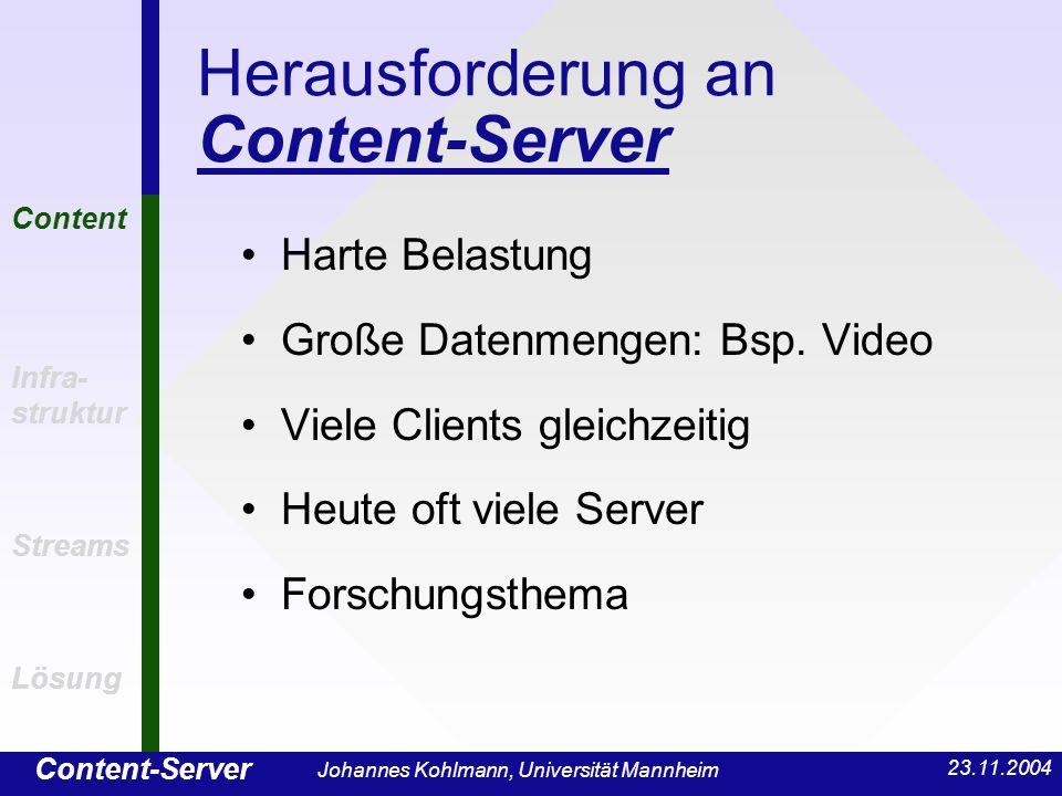 Content-Server Content Infra- struktur Streams Lösung 23.11.2004 Johannes Kohlmann, Universität Mannheim Herausforderung an Content-Server Harte Belas