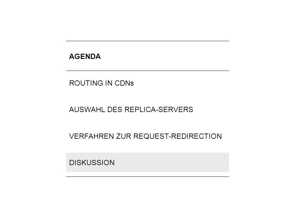 16Lilli Winschel: Routingverfahren zur Lastverteilung in Content-Delivery-Networks AGENDA ROUTING IN CDNs AUSWAHL DES REPLICA-SERVERS VERFAHREN ZUR RE