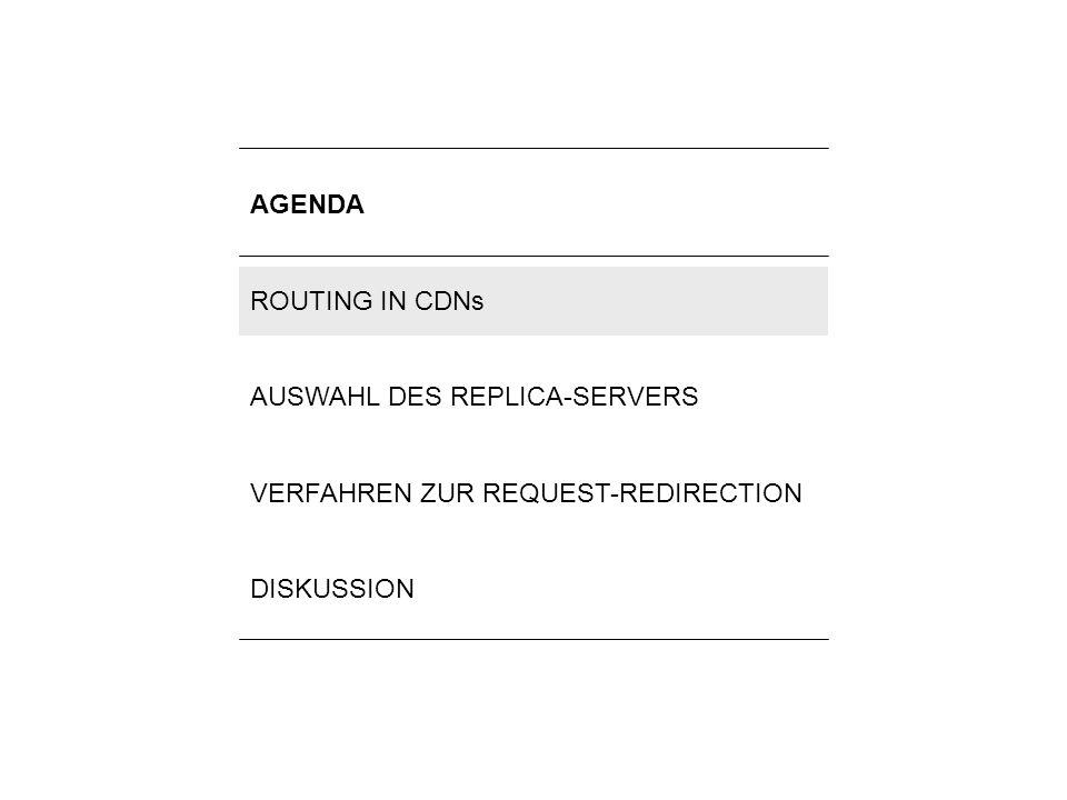 3Lilli Winschel: Routingverfahren zur Lastverteilung in Content-Delivery-Networks AUFBAU VON CDNs Request-Routing- System Distributions- system Accounting- System Replica- Server Clients Haupt- server Routing-Aufgaben im Request-Routing- und im Distributionssystem