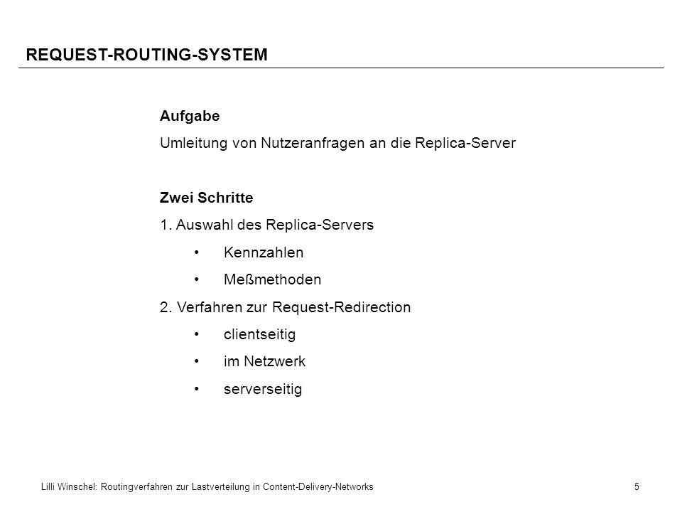 6Lilli Winschel: Routingverfahren zur Lastverteilung in Content-Delivery-Networks AGENDA ROUTING IN CDNs AUSWAHL DES REPLICA-SERVERS VERFAHREN ZUR REQUEST-REDIRECTION DISKUSSION