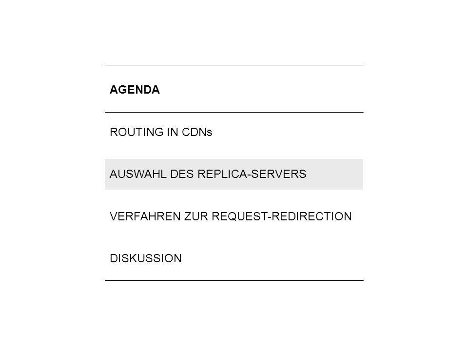 6Lilli Winschel: Routingverfahren zur Lastverteilung in Content-Delivery-Networks AGENDA ROUTING IN CDNs AUSWAHL DES REPLICA-SERVERS VERFAHREN ZUR REQ