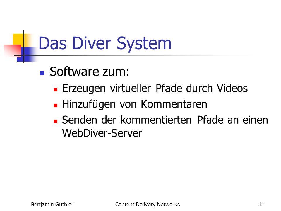 Benjamin GuthierContent Delivery Networks11 Das Diver System Software zum: Erzeugen virtueller Pfade durch Videos Hinzufügen von Kommentaren Senden der kommentierten Pfade an einen WebDiver-Server