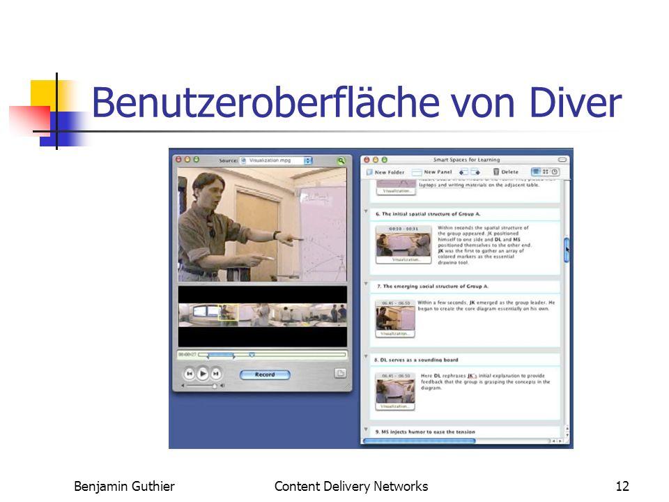Benjamin GuthierContent Delivery Networks12 Benutzeroberfläche von Diver