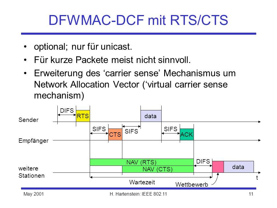 May 2001H. Hartenstein: IEEE 802.1111 DFWMAC-DCF mit RTS/CTS optional; nur für unicast. Für kurze Packete meist nicht sinnvoll. Erweiterung des carrie