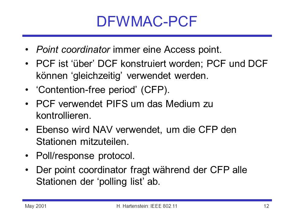 May 2001H. Hartenstein: IEEE 802.1112 DFWMAC-PCF Point coordinator immer eine Access point. PCF ist über DCF konstruiert worden; PCF und DCF können gl