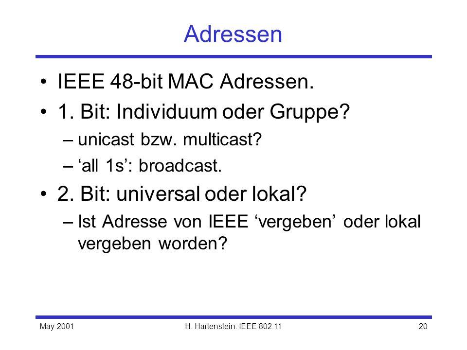 May 2001H. Hartenstein: IEEE 802.1120 Adressen IEEE 48-bit MAC Adressen. 1. Bit: Individuum oder Gruppe? –unicast bzw. multicast? –all 1s: broadcast.