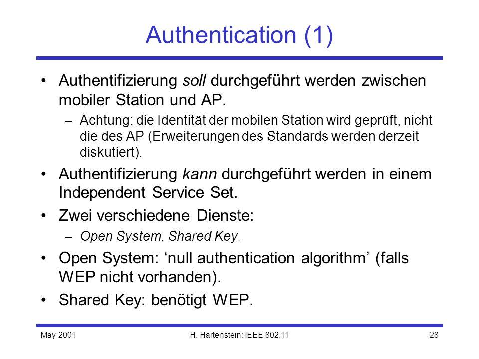 May 2001H. Hartenstein: IEEE 802.1128 Authentication (1) Authentifizierung soll durchgeführt werden zwischen mobiler Station und AP. –Achtung: die Ide