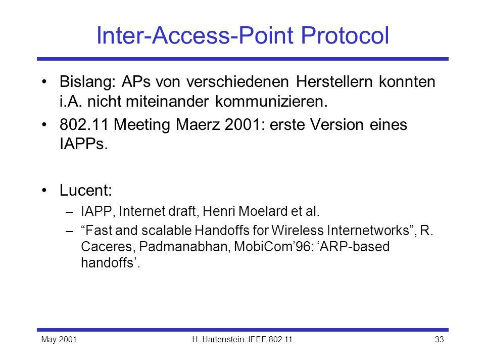 May 2001H. Hartenstein: IEEE 802.1133 Inter-Access-Point Protocol Bislang: APs von verschiedenen Herstellern konnten i.A. nicht miteinander kommunizie