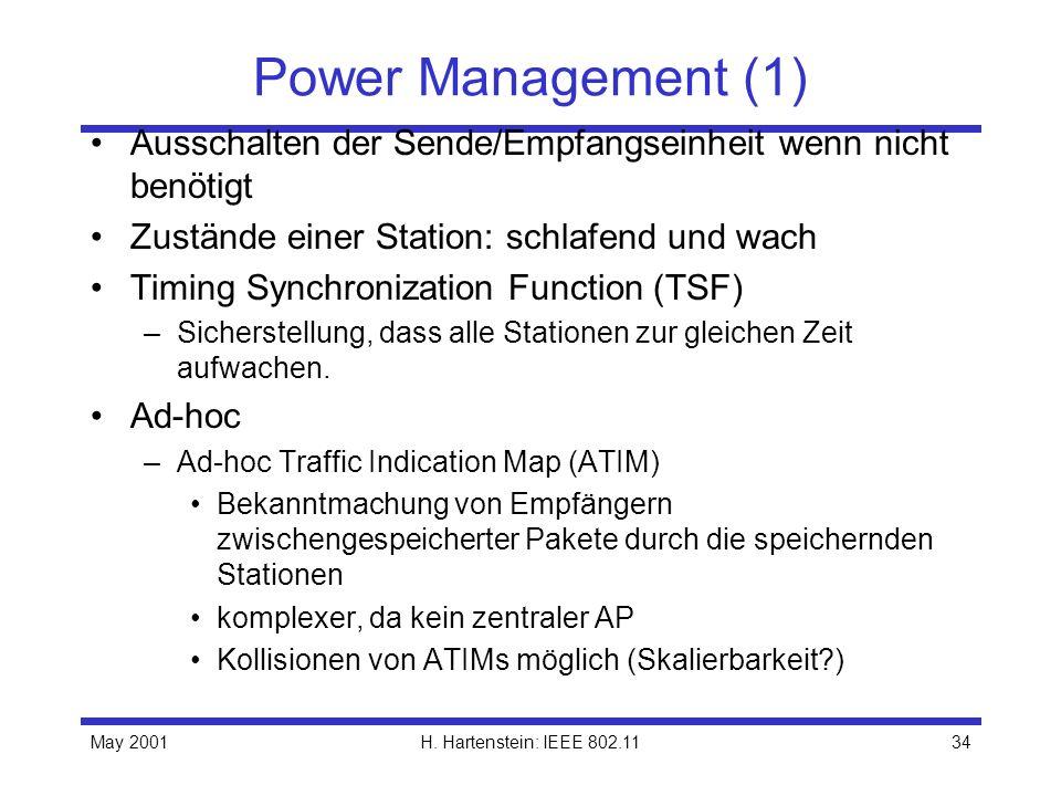 May 2001H. Hartenstein: IEEE 802.1134 Power Management (1) Ausschalten der Sende/Empfangseinheit wenn nicht benötigt Zustände einer Station: schlafend